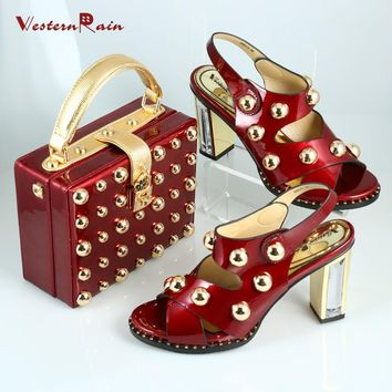 Westernrain New design African shoes and matching bag and Italian shoes