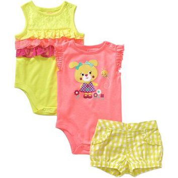 Garanimals Newborn Baby Girl Bodysuit and Plaid Shorts 3-piece Outfit Set - Walmart.com