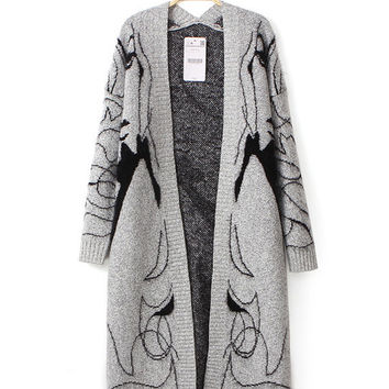 Gray V-neck Printed Rabbit Fur Long Sleeve Knitted Sweater Cardigan