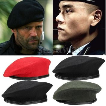 US NEW Vintage Unisex Men Women Military Wool Beret Cap Soldier Army Beanie Hat