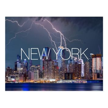New York City lightning skyline travel photograph Postcard