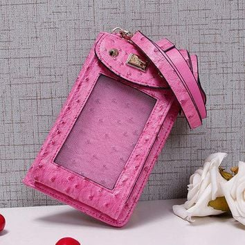 Fake Ostrich PU Leather 5.5inch Touch Screen Phone Bag Portable Shoulder Bag