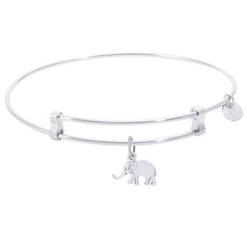 Sterling Silver Confident Bangle Bracelet With Elephant Charm