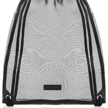 Mesh Drawstring Bag - Black