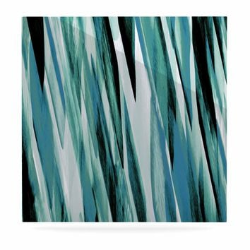 "Nina May ""Teal Brush Strokes"" Teal White Painting Luxe Square Panel"