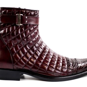 "Belvedere ""Libero"" Quilted Leather Cap Toe Boot"