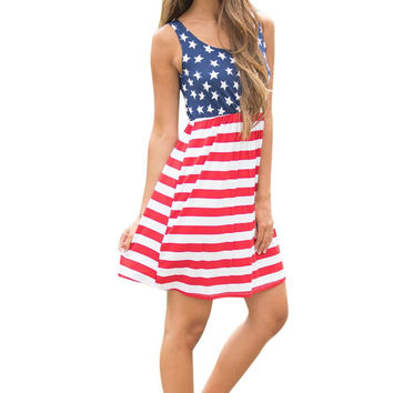 Hot American Flag Printing Womens Summer Dress 2017