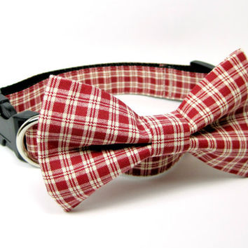 Red/Tan Plaid Dog Collars with bow tie set  (Mini,X-Small,Small,Medium ,Large or X-Large Size)- Adjustable