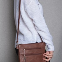 Lucky 21 Two Compartment Zippered Faux Leather Crossbody Purse - Dark Brown