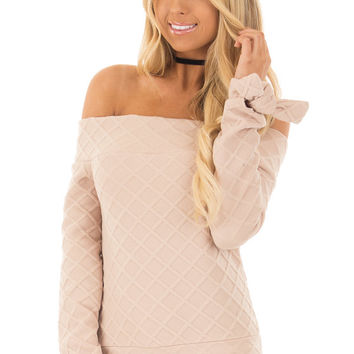 Taupe Quilted Off the Shoulder Top with Tie Cuffs