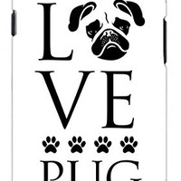 Love Pug Dog Direct Print (not a sticker) Unique Quality Hard Snap On Case for Samsung Galaxy S3 SIII i9300 (WHITE)