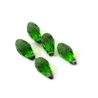Emerald Green Crystal Teardrop Pendants/Beads 6x12mm