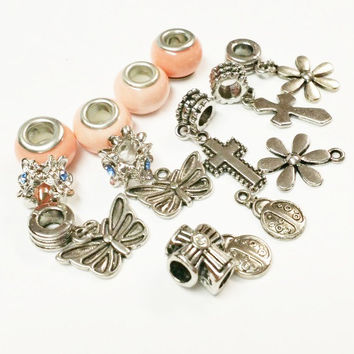 15 Assorted Large Hole Beads for Jewelry Making | Jewelry Supply | Large Hole Beads and Bails | Butterfly, Flower, Cross Charms