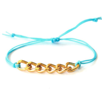 Veronica Arm Candy Tiffany Blue Gold Chain by PopCultureJunkie