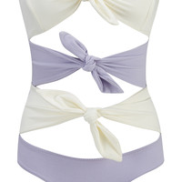 Triple Poppy Bow-Embellished Swimsuit
