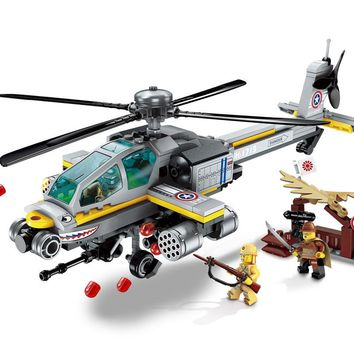 ENLIGHTEN Military Apache's Raid  Helicopter WW2 Special Forces PUBG Figures Building Blocks Sets Kids Toys Compatible Legoings