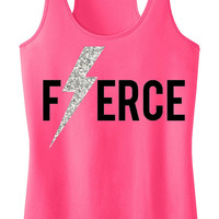 FIERCE Glitter Lightning Workout Tank Top, Workout Clothing, Workout Tanks, Gym Tank, gym tank top, Motivational, Workout Shirt, Fitness