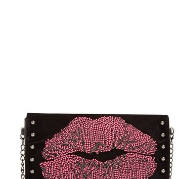 Women's Betsey Johnson 'Smooches' Studded Clutch - Black