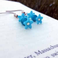 Blue flower earrings/ Blue candy earrings/ Blue earrings/ Handmade/ Women's/ Blue beaded earrings/ Flower earrings/ Blue flower/ Candy/ Blue