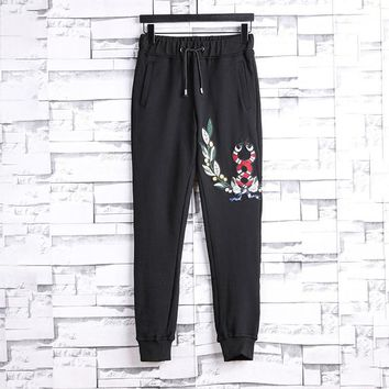 Gucci Embroidery Drawstring Pants Trousers Sweatpants-1