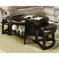 Woodbridge Home Designs 3219 Series Round Cocktail Table with Two Ottomans and Two Shelves - 3219PU-01SH - Accent Tables - Decor