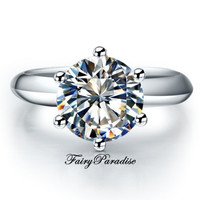 2 Ct Round Brilliant Cut Lab Created Diamond (not CZ) Engagement Wedding Ring Certified SONA with gift box - made to order