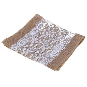 Burlap Lace Table Runner Natural Jute Wedding Festival Decoration Crafts