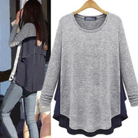 Casual Asymmetrical Long Sleeve Flounce Sweatshirt