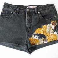 Vintage Faded Glory Cat Print Black Cut Off Leather Denim Distressed Shorts