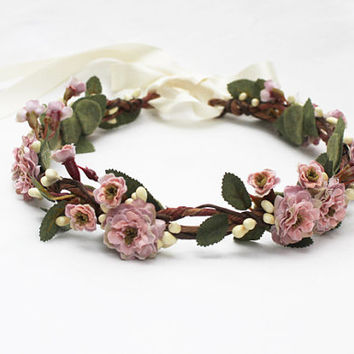 Pink Bridal Flower Crown - Weddings, Floral Crown, Hair Wreath, Flower Girl Headpiece, Bridal Headpiece, Wedding Flower Crown, Circlet, Pink