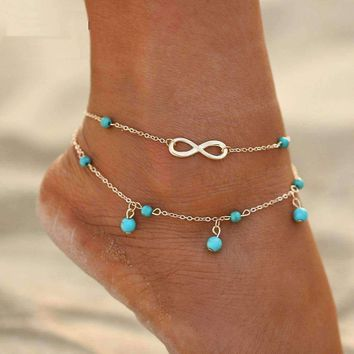 CLEARANCE - Infinity Beads Double Ankle Bracelet In Silver or Gold