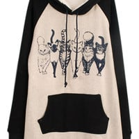 ROMWE | ROMWE Color Block Six Cats Print Hoodie, The Latest Street Fashion