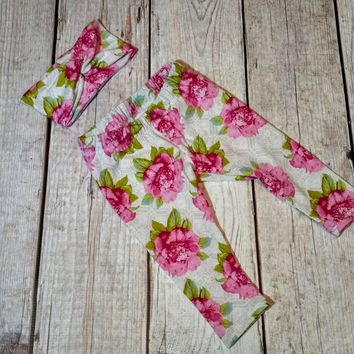 Pink Floral Turban Headband & Legging Set