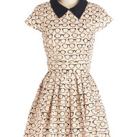 ModCloth Scholastic Mid-length Short Sleeves A-line Clear as Day Off Dress