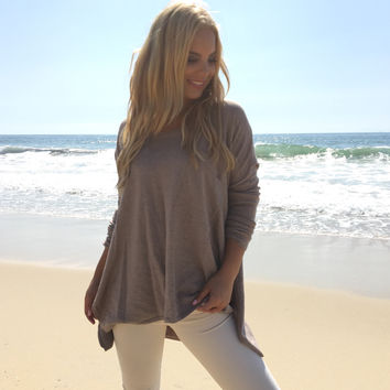 Pocket Full Of Love Knit Sweater In Mocha