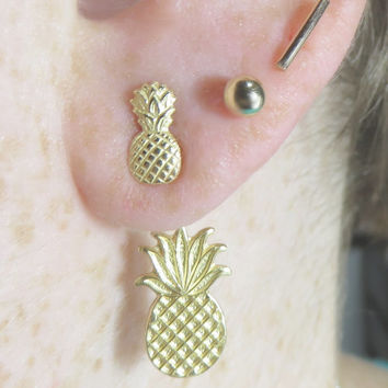 Pineapple ear jacket, Gold ear jackets, ear jackets, Ear jacket earrings, Statement earrings, pineapple earrings, gifts for her, ear backs