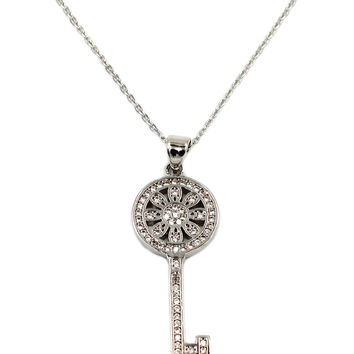flower crystal silver key necklace