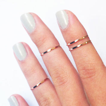 12 Above the Knuckle Rings - 3 gold rings and 3 chrome silver rings - set of 6 stackable midi rings