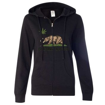 California Republic Weed Bear Ladies Zip-Up Hoodie