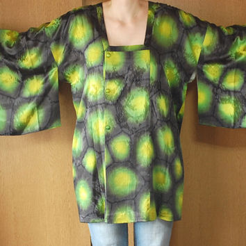 Michiyuki Kimono Blouse Neon Green Yellow Black Extravaganza From Japan