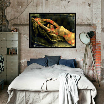 Frida Kahlo Nude Cactus Flowers Mixed Media Collage Modern Home Wall Decor Photomontage Black White Sepia Orange Dark Green Small to Poster