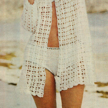 Crochet Bikini Cover Up Pattern Vintage 60s Beach Cover Jacket -Boho Bohemian Clothing-Crochet Bikini Pattern-INSTANT DOWNLOAD