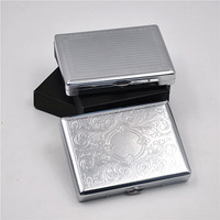 1X Metal Cigarette Case (105mm*80mm) Holding 18 Regular Size Cigarettes (85mm*8mm) Tobacco Case Box Chrome Brushed With 2 Clips
