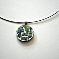 Etsy Mosaic Pendant - Gidget - Broken China, Stained Glass, Retro, Wearable Art, Green Blue, Vintage, Gift Idea