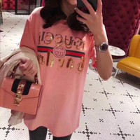 """Gucci"" Women Loose Casual Fashion Sequin Letter Embroidery Short Sleeve T-shirt Top Tee"
