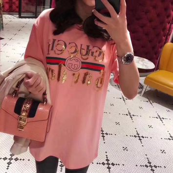 """""""Gucci"""" Women Loose Casual Fashion Sequin Letter Embroidery Short Sleeve T-shirt Top Tee"""
