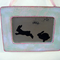 The Chase Jumping Bunnies Antiqued Mirror Art Folk Spring Shabby Chic Farmhouse Wall Decor Pink Green Easter Vintage Style Rabbits