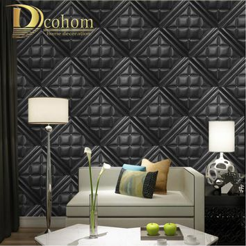 Modern Luxury Faux Leather Soft Bag 3D Wallpaper For Walls Embossed Vinyl Wall Paper Rolls For Living Room Sofa Tv Background