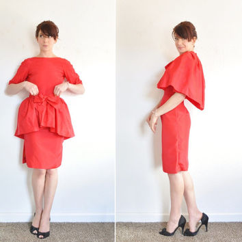 1950 red convertible peplum dress . 2 pc cocktail party capelet .extra small.xs