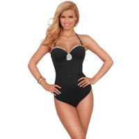Womens One Piece Strapless Halter Rose Ruffle Slimming Retro Bikini Swimsuit